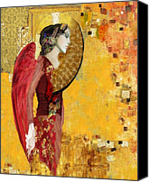 Icon  Mixed Media Canvas Prints - My Angel Series02 Canvas Print by Maria Szollosi