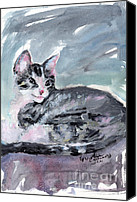 Kittens Mixed Media Canvas Prints - My Baby Buster Kitten Portrait Canvas Print by Ginette Fine Art LLC Ginette Callaway