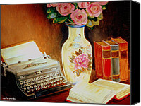 Typewriter Painting Canvas Prints - My Classic Royal Typewriter Memories Of Hemingway   Canvas Print by Carole Spandau