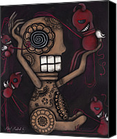 Sugar Skull Painting Canvas Prints - My Conscience Canvas Print by  Abril Andrade Griffith