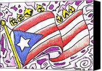 Puerto Rico Drawings Canvas Prints - My Flag Canvas Print by Tommy Villarreal