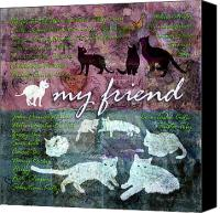 Layered Canvas Prints - My Friend Cats Canvas Print by Evie Cook