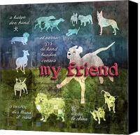 Layered Canvas Prints - My Friend Dogs Canvas Print by Evie Cook