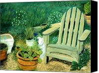 Clay Pastels Canvas Prints - My Garden Chair Canvas Print by Jan Amiss