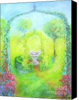 Landscapes Pastels Canvas Prints - My Garden Trellis Canvas Print by Barbara Anna Knauf