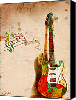 Textured Canvas Prints - My Guitar Can SING Canvas Print by Nikki Marie Smith