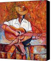 Cuba Painting Canvas Prints - My Guitar Canvas Print by Jose Manuel Abraham