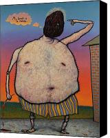 Self Portrait Canvas Prints - My head is a raisin. Canvas Print by James W Johnson