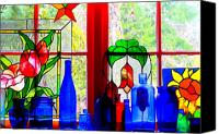 Bottles Canvas Prints - My Kitchen Window Canvas Print by Margaret Hood