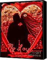 Couples Mixed Media Canvas Prints - My Love in Metallics Canvas Print by Tisha McGee