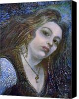 Egg Tempera Painting Canvas Prints - My Mermaid Christan Canvas Print by Otto Rapp