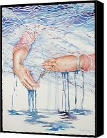 Loss Painting Canvas Prints - My Mothers Hands Canvas Print by Carolyn Coffey Wallace