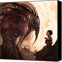 Concept Digital Art Canvas Prints - My New Friend Canvas Print by Alex Ruiz