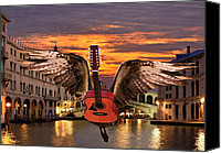 Rock Angels Canvas Prints - My Worlds Acoustic Canvas Print by Eric Kempson