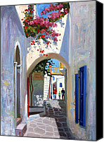 Greece Painting Canvas Prints - Mykonos Archway Canvas Print by Roelof Rossouw