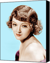 1930s Hairstyles Canvas Prints - Myrna Loy, Mgm Portrait, 1930s Canvas Print by Everett