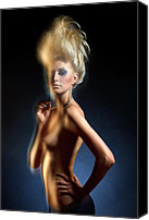 Motion Pyrography Canvas Prints - Mysterious nude Canvas Print by Pavlo Kolotenko