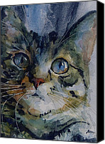 Tabby Painting Canvas Prints - Mystery Tabby Canvas Print by Paul Lovering