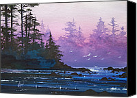 Watercolor Landscape Canvas Prints - Mystic Shore Canvas Print by James Williamson