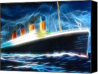 Stormy Drawings Canvas Prints - Mystical Titanic Canvas Print by Paul Van Scott