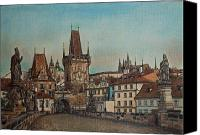 Charles Bridge Pastels Canvas Prints - Na Karlovem moste Canvas Print by Gordana Dokic Segedin