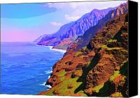 Kaanapali Mixed Media Canvas Prints - Na Pali Coast Canvas Print by Dominic Piperata