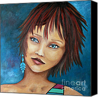 Teen Painting Canvas Prints - Nadine Canvas Print by Jutta Maria Pusl