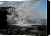 Nakalele Canvas Prints - Nakalele Blowhole and Rainbow Canvas Print by Harry Mason