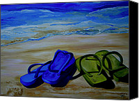 House Canvas Prints - Naked Feet on the Beach Canvas Print by Patti Schermerhorn