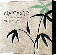 White Canvas Prints - Namaste Canvas Print by Linda Woods