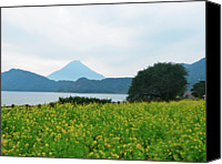 Mountain Scene Canvas Prints - Nanohana (rape Blossoms) Canvas Print by Kurosaki San