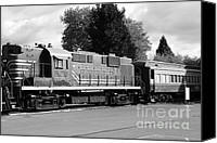 Wine Train Canvas Prints - Napa Valley Railroad Wine Train Locomotive in Napa California Wine Country . Black and White . 7D899 Canvas Print by Wingsdomain Art and Photography