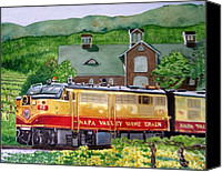 Train Painting Canvas Prints - Napa Wine Train Canvas Print by Gail Chandler