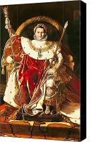 Enthroned Canvas Prints - Napoleon I on the Imperial Throne Canvas Print by Ingres