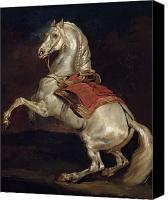 White Horses Canvas Prints - Napoleons Stallion Tamerlan Canvas Print by Theodore Gericault