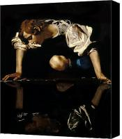 Mythological Canvas Prints - Narcissus Canvas Print by Caravaggio