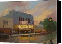 Norfolk Painting Canvas Prints - Naro Cinema Norfolk VA Canvas Print by Marianne  Kuhn