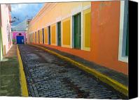 Puerto Rico Photo Canvas Prints - Narrow Cobblestone Street in Old San Juan Puerto Rico Canvas Print by George Oze