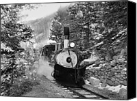 Southern Rocky Mountains Canvas Prints - Narrow Gauge Memories Black and White Canvas Print by Ken Smith