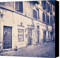 Old Houses Canvas Prints - narrow street in Rome Canvas Print by Joana Kruse