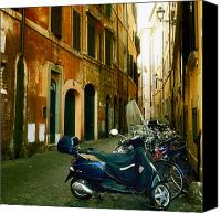 Door Canvas Prints - narrow streets in Rome Canvas Print by Joana Kruse