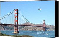 Frisco Canvas Prints - NASA Space Shuttles Final Hurrah Over The San Francisco Golden Gate Bridge Canvas Print by Wingsdomain Art and Photography
