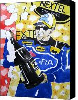 All-star Painting Canvas Prints - Nascar Mark Martin Canvas Print by Lesley Giles
