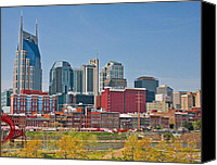 Nashville Skyline Canvas Prints - Nashville Riverfront Canvas Print by Karen DeFriez