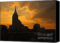 Nashville Skyline Canvas Prints - Nashville Skyline at Dusk Canvas Print by Addie Hocynec