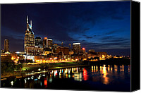 Night Photo Canvas Prints - Nashville Skyline Canvas Print by Mark Currier
