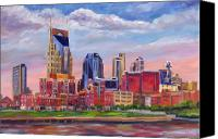 Building Canvas Prints - Nashville Skyline Painting Canvas Print by Jeff Pittman
