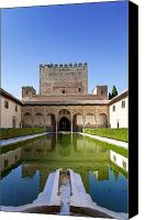 Arab Canvas Prints - Nasrid Palace from fish pond Canvas Print by Jane Rix