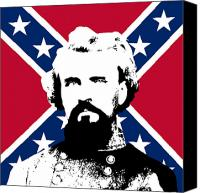 War Is Hell Store Canvas Prints - Nathan Bedford Forrest and The Rebel Flag Canvas Print by War Is Hell Store