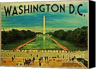 D.c. Digital Art Canvas Prints - National Mall Washington D.C. Canvas Print by Vintage Poster Designs